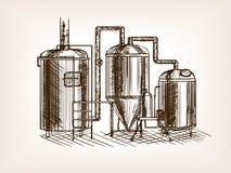 Beer brewing sketch vector illustration Stock Photos