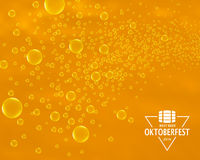 Beer bubbles background with Oktoberfest triangle label Royalty Free Stock Photography
