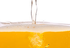 Beer bubbles. Pouring beer into a mug Stock Image