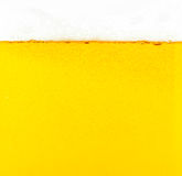 Beer bubbles. The yellow background - the detail of beer Stock Photo