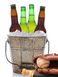 Beer Bucket and Baseball Stock Photo
