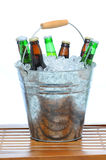 Beer Bucket on Teak Table Royalty Free Stock Photo