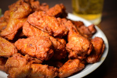 Beer and Buffalo Wings. Cold Beer and Buffalo Wings stock photos