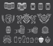 Beer Bundle White on Black Royalty Free Stock Images