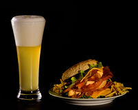 Beer and Burger Stock Images