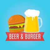 Beer and burger flat design illustration. Food. Concept Royalty Free Stock Photos