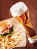 Beer and a Burger Royalty Free Stock Photos