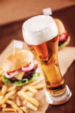 Beer and a Burger Royalty Free Stock Photo