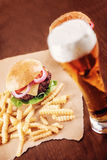 Beer and a Burger Royalty Free Stock Photography