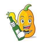 With beer butternut squash mascot cartoon. Vector illustration Stock Photography