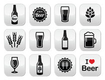 Beer  buttons set - bottle, glass, pint Stock Photography