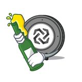 With beer Bytom coin mascot cartoon. Vector illustration Royalty Free Stock Photos