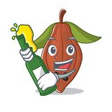 With beer cacao bean mascot cartoon. Vector illustration Stock Photo