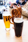 Beer in a cafe outside Royalty Free Stock Images