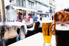 Beer in a cafe outside Royalty Free Stock Photo