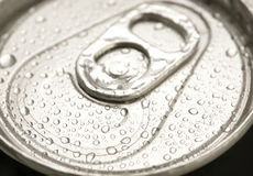 Beer can. Detail of a closed beer can with water drops Stock Photo