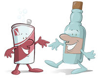 Beer can and Booze Bottle. Cartoon beer Can and Booze Bootle characters off to have a party Royalty Free Stock Image