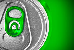 Beer can on a green background Royalty Free Stock Images