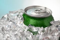 Beer can in ice Stock Photography