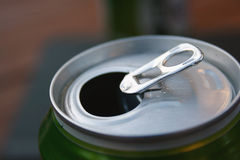 Beer Can Ring-Pull. The Ring-Pull mechanism on a green beer can royalty free stock image