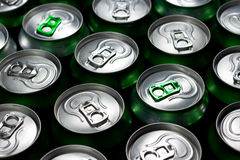Beer cans. Photo of green beer cans stock images