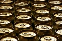 Beer cans. Lots of beer cans close-up, may be used as background Royalty Free Stock Photography