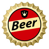 Beer cap. Red beer cap.  Illustration of designer on white background Stock Photos