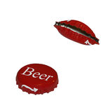 Beer cap. Closeup of beer cap on white background royalty free illustration