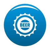 Beer cap icon blue. Circle isolated on white background vector illustration