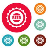 Beer cap icons circle set vector. Isolated on white background Stock Photo