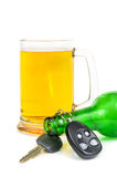 Beer and car keys Stock Image