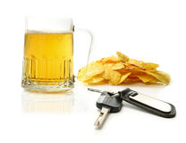Beer and car keys Royalty Free Stock Images