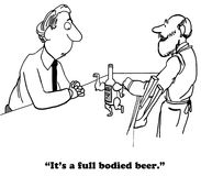 Beer. Cartoon about a full bodied beer Royalty Free Stock Photos