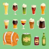 Beer cartoon vector mug cups and glass bottles beerhouse brewery beermug or beerbottle and dark ale in bar on beery. Party with alcohol barrel and beered up in royalty free illustration
