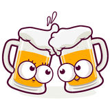Beer cartoons toasting Stock Images