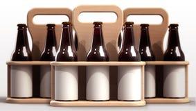 Beer case. Beer bottle side by side with blank label inside wooden case - 3d render image Stock Photography