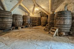The Beer Cellar, Berkeley Castle, Gloucestershire, England. The Beer and wine cellar in the famous historic mediaeval Berkeley Castle in Gloucestershire royalty free stock image
