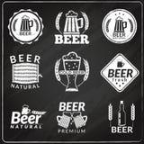 Beer chalkboard emblems Stock Image