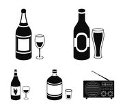 Beer, champagne, white wine, absinthe,Alcohol set collection icons in black style vector symbol stock illustration web. Beer, champagne, white wine, absinthe Royalty Free Stock Images