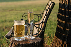 Beer on a Champaigne Budget. Champaign and Beer in mug in a country setting during sunset Royalty Free Stock Photo