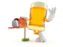 Beer character with mailbox. Isolated on white background royalty free illustration