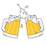 Beer cheers. Vector. Royalty Free Stock Images