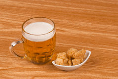 Beer and chicharrones Royalty Free Stock Images