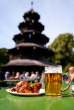 Beer and chicken in Munich Beer Garten Royalty Free Stock Photography