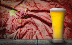 Beer China flag. Cold Beer with Grunge China Flag royalty free stock photography