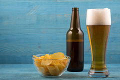Beer and chips royalty free stock image