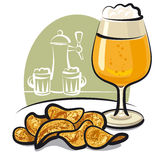 Beer and chips Royalty Free Stock Images