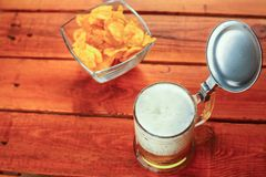 Beer and chips Stock Image