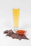 Beer, chips and salsa Royalty Free Stock Photos