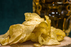 Beer, chips and the sauce. Still life: beer, chips and the sauce royalty free stock photography